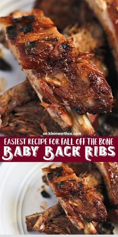 Easiest recipe for FALL OFF THE BONE Baby Back Ribs that will keep them coming back for more. Perfect for summer BBQ's & parties better make a few racks! Easiest recipe for FALL OFF THE BONE Baby Back Ribs that will keep them coming back for mo Grilling Recipes, Meat Recipes, Fall Recipes, Cooking Recipes, Cooking Tips, Grill Meals, Smoker Recipes, Salmon Recipes, Recipes Dinner