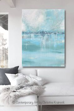 Seaglass Giclee Print / Canvas Print of Original Art Blue White Sea Foam Green Grey Abstract Painting. Contemporary Abstract Modern Seascape Light Aqua Horizon Stunning, as the details and layers of paint seem to take on an almost shimmering quality of light dancing on water that is