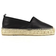 Falcon Espadrille - Black Leather ($93) ❤ liked on Polyvore featuring shoes, sandals, flatform sandals, leather shoes, black leather sandals, espadrilles shoes and black leather espadrilles