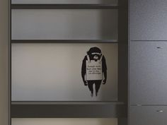 Banksy Monkey Sign Wall Stickers This quirky and humorous wall sticker is inspired by the work of UK graffiti artist Banksy. Wall Sticker Design, Wall Decals, Small Wall Stickers, Banksy Monkey, Wall Signs, Door Handles, Graffiti, Inspired, Artist