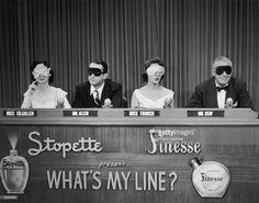 Celebrity panelists Dorothy Kilgallen, Steve Allen, Arlene Francis (1907 - 2001) and Bennett Cerf sit blindfolded on the set of the TV game show, 'What's My Line?'