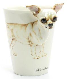 Chihuahua Ceramics Coffee Mug a unique gift for pet lover. $55.00, via Etsy.