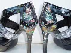 custom order, hand painted, womens high heel shoes, butterfly tattoos theme on Etsy, $245.00
