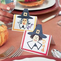 Pilgrim Place Cards Table Decoration