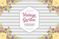Vintage Garden  Set - Vector & PNG by Pixeled Paper Designs on Creative Market