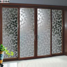 decorative paste Window Films sunscreen Leaf decal waterproof Self-Adhesive glue window stickers Hsxuan brand (Mainland)) Glass Partition Designs, Window Glass Design, Frosted Glass Design, Window Grill Design Modern, Living Room Partition Design, Pooja Room Door Design, Frosted Glass Door, Stained Glass Designs, Sliding Glass Door