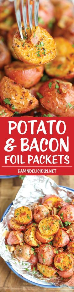 Potato and Bacon Foil Packets - Flavor-packed potato bites with bacon crumbles baked (or grilled) to absolute perfection with zero clean-up! How easy!