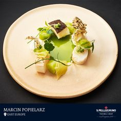 Marcin Popielarz will represent East Europe with his winning signature dish of 'Smoked halibut with cucumber and dill.'