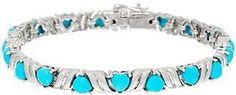 """QVC Sleeping Beauty Turquoise Heart Cut 6-3/4"""" Sterling Tennis Bracelet"""
