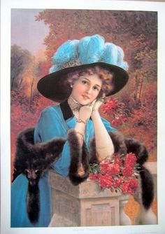 art print~CARNATION LADY~Victorian Woman with Blue Feather Hat fur vtg rep 17x24