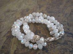 Triple Strand Sparkling Bracelet of Crystals by austinleighdesigns,