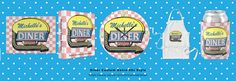 This personalized matching diner set has a retro 50s look. Decorate your kitchen in diner style, throw a rock n roll party or promote your diner with these complementary products. Easily add your own name. Some products also have room for a short slogan and the date your diner was established. To see even more diner products, visit here: http://www.zazzle.com/fancycelebration/gifts?cg=196463271987760547 #diner #50s #retro #zazzle