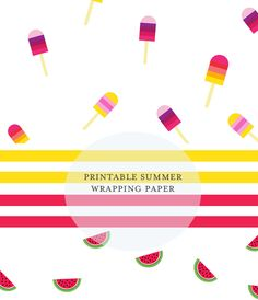 Free Printable Summer Wrapping Paper - 4 Different Patterns!