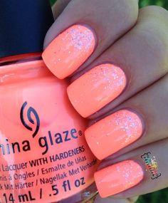 My Nail Polish Obsession: China Glaze Nail Polish in Flip Flop Fantasy with Silver Glitter Nail Polish Accent ... Amazing!