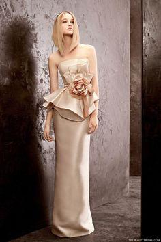 White by Vera Wang 2012 strapless peplum column bridal gown