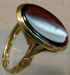 The ring of Bishop Maurice de Sully 1150 to 1200. It's gold with enamel and is in the Louvre Museum. It comes from the tomb of Maurice de Sully (1160-1196) in Saint-Victor in Paris.