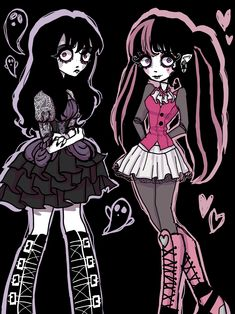 Arte Grunge, Grunge Art, Cute Art Styles, Cartoon Art Styles, Desenhos Tim Burton, Arte Monster High, Pastel Goth Art, Personajes Monster High, Arte Indie