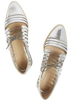 UK exclusive to Harvey Nichols  Loeffler Randall silver leather shoes Heel…