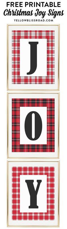 "Free Printable ""JOY"" signs in Christmas plaids   Christmas Printables   Christmas decor   Christmas crafts."