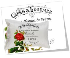 Red Roses French Typography - Large Image Transfer