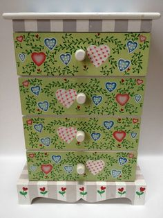 Girls Large Wooden Painted Jewelry Box Chest Of Drawers Country Chic Hearts Vine