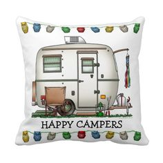 Cute RV Vintage Glass Egg Camper Travel Trailer Pillow - too cute! I remember having owl lights!