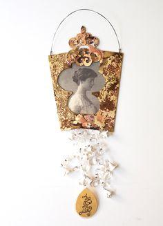 MARINA ZACHOU-GR-Wall piece: For you 2011Bronze, laminated old photograph, quartz, steel wire, porcelain flowers, nylon thread and handwritten message10 x 17 x 1 cm