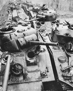 Wrecked US M4 Sherman Tanks at Ordnance Depot in France 1945