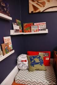 Reading area- low shelves and floor pillows