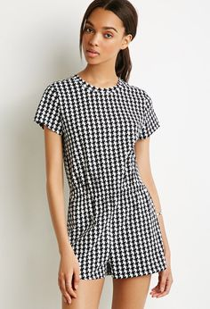 Houndstooth Print T-Shirt Romper   Forever 21 Canada
