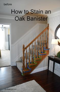 to Stain an Oak Banister How to stain an oak banister. Give your staircase a makeover with this DIY step-by-step tutorial.How to stain an oak banister. Give your staircase a makeover with this DIY step-by-step tutorial. Stair Banister, Banisters, Railings, Painted Banister, Diy Stair, Painted Staircases, Banister Remodel, Oak Stairs, Basement Stairway
