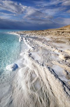 The shore of The Dead Sea, Israel.