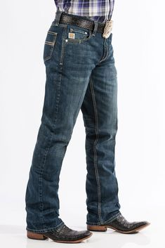 Cinch Carter Dark Stone Performance Denim Jeans CARTER returns with its … – Men's style, accessories, mens fashion trends 2020 Cowboy Outfit For Men, Western Boots For Men, Cowboy Outfits, Western Wear, Western Cowboy, Cowboy Boots, Denim Shirt With Jeans, Jeans And Boots, Men's Jeans
