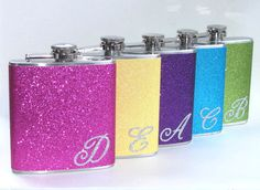 9 Flask Value Pack Your Color Choice of Flasks Stainless Steel 6 oz Party Liquor Hip Flask Wedding Bridesmaid Gift Bedazzled Liquor Bottles, Bling Bottles, Wedding Hip Flasks, Wedding Favors, Alcohol Bottle Decorations, Alcohol Bottles, Cool Flasks, Glitter Wine Glasses, Wedding Gifts For Bridesmaids