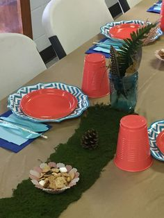 Roll out the moss for S'mores Trail Mix Tribal Table Food Young Wild Free, Wild And Free, 10th Birthday Parties, Arrows, Aztec, Trail, Feather, Fox, Christmas Tree