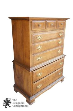 Ethan Allen Classic Manor Highboy Chest of Drawers Colonial Style Maple Dresser | The Designers Consignment