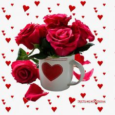 Good Morning Flowers, Beautiful Roses, Love Heart, Good Night, Hearts, Flowers, I Love You Pictures, Heart Pictures, Heart Gif