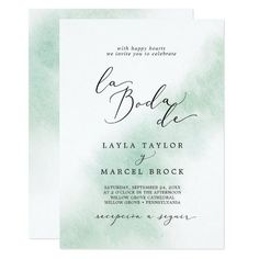 Watercolor Wash Green La Boda De Spanish Wedding Invite with a simple splash of pastel sage green water color with elegant and classic style. Click to customize with your personalized details today. Invitation Card Design, Wedding Invitation Design, Custom Invitations, Invite, Announcement Cards, Wedding Announcements, Spring Wedding Invitations, Beautiful Wedding Invitations, Spanish Wedding