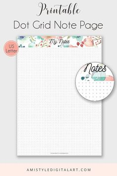 Printable Note Page Dot Grid US Letter Printable Planner The dot grid notes give the freedom of the note taking, planning, sketching and designing. You can use it for your bullet journaling as well. Buy and download your pages as many times as you want»