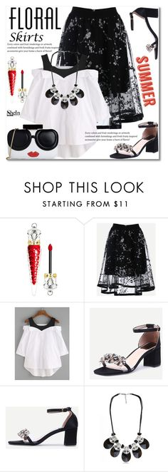 """The Perfect Summer Floral Skirt"" by svijetlana ❤ liked on Polyvore featuring Christian Louboutin, Alice + Olivia, floralskirt, polyvoreeditorial and shein"