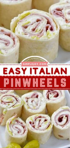 This crowd-pleasing appetizer recipe is a football favorite! Packed with delicious flavor, these quick and easy Italian pinwheels will be one of the first to disappear. Make a big batch of this homegating recipe or tailgate food on game day! Italian Pinwheel Recipe, Pinwheel Recipes, Yummy Appetizers, Appetizer Recipes, Snack Recipes, Cooking Recipes, Healthy Fruit Snacks, Cream Cheese Pinwheels