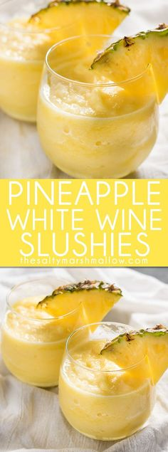 Pineapple White Wine Slushies: These white wine slushies are easy to make in your blender right at home with only two ingredients. Perfect with moscato, chardonnay, or any white wine you prefer. A fun and Alcohol Drink Recipes, Wine Recipes, Cooking Recipes, Recipes With White Wine, Fireball Recipes, Cooking Food, Food Prep, Sausage Recipes, Coffee Recipes