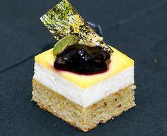 pistachio custard | pistachio financier with vanilla parfait lemon custard rosemary ...
