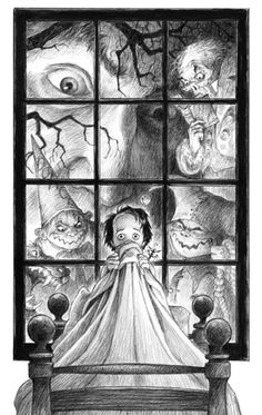 """Nightmares"" by The Art of Scott Gustafson from EDDIE: The Lost Youth of Edgar Allan Poe (Graphite and Liquid pencil on Bristol board) Edgar Allan Poe, Black And White Illustration, Cute Illustration, Quoth The Raven, Doodle, Allen Poe, Bristol Board, Halloween Art, Whimsical Art"