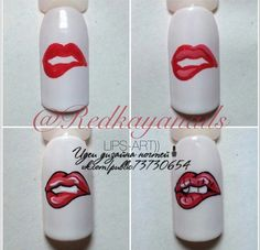 Lip Nail Art by Uploaded by Michellenorell Kiara Nail Manicure, Diy Nails, Cute Nails, Pop Art Nails, Nail Art Hacks, Nail Art Diy, Valentine Nail Art, Nail Art Techniques, Painted Nail Art