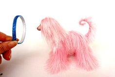 Miniature Toys, Cute Afghan Hound, Pink dog figurine, Stuffed Animal, Fun Plush Toy, Movable Figurine Dog, Cute Toy, Mini Toy, OOAK Artist,
