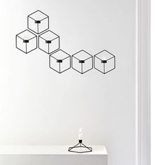 Nástěnný svícen na čajovou svíčku POV od Menu, černý | DesignVille