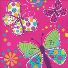 Butterfly Sparkle Lunch Napkins, 3-Ply (192/case)