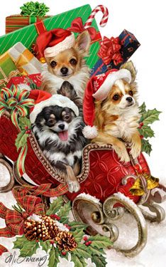 """Long Coat Chihuahua Christmas Cards are 8 1/2"""" x 5 1/2"""" and come in packages of 12 cards. One design per package. All designs include envelopes, your personal message, and choice of greeting. Select the inside greeting of your choice from the menu below.Add your personal message to the Comments box during checkout."""