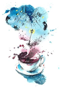 Are You Joining National Poetry Writing Month? Are You Joining National Poetry Writing Month? – The Writing Cooperative Arte Complexa, Watercolor Illustration, Watercolor Paintings, Art Sketches, Art Drawings, Coffee Art, Aesthetic Art, Oeuvre D'art, Amazing Art